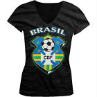 Brasil World Cup Soccer Flag Crest Brazilian Pride Girls Junior V-Neck T-Shirt