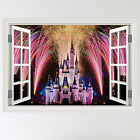 Full Colour Fairy Tale Castle Fireworks Window Wall Sticker Decal mural transfer