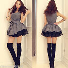 Fashion women Tank Top Sexy Ball Gown Mini Dress Off Shoulder V-neck skirts grey