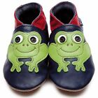 Inch Blue Boys Baby Luxury Leather Soft Sole Pram Shoes - Frog Navy Blue