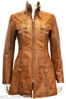 Zeta Tan Ladies Women's Fashion Designer Party Washed Leather Jacket Trench Coat