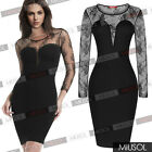 Women's Long Sleeve Lace Bridesmaid Slimming Cocktail Black Party Dresses 120468