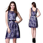 Fashion Navy Blue Lace Short Party Cocktail Bridesmaid Pencil Dresses Gown 03794