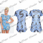 Womens Ladies Celebrity Inspired Rose Floral Print Jumpsuit All In One Playsuit