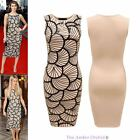 NEW WOMENS LADIES CELEBRITY SLEEVELESS SCALLOPED SHELL PRINT PARTY BODYCON DRESS