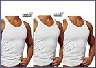 3 MENS 100% COTTON REGULAR FIT VESTS WHITE GYM TRAINING SUMMER TOP size S to XXL