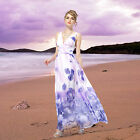 Womens Sexy V Neck Printed Chiffon Long Maxi Evening Formal Party Dresses 08144