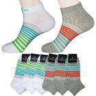 """6 Pairs Mens Striped Ankle Socks M208A """"Skin contact surface is 100% cotton"""""""