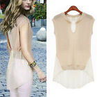 Sexy Womens Chiffon Tops V Neck Loose Blouse Casual T-Shirt Sleeveless Blouse