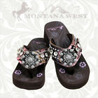 PINK CAMO CAMOUFLAGE MONTANA WEST CONCHO RHINESTONE FLIP FLOP SANDALS SHOES