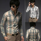 Men Casual Slim Fit Luxury Dress Formal Business Shirt Plaid Checkered Shirt Top