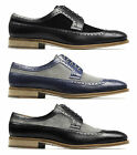 Monk CATANIA Mens Leather Suede Two-Tone Brogue Lace-Up Chisel Toe Formal Shoes