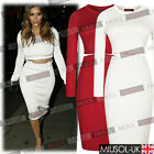 Womens Celeb Two Piece Bodycon Crop Top Skirt Sweater Party Playsuit Dresses 810