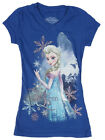 Disney Frozen Girls Snowflake Blue Elsa Snow Queen Short Sleeve Tee Top Shirt L