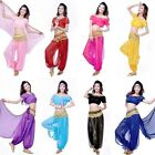 Belly Dance Costumes Suit Chiffon Short Sleeve Tops Bloomers Pants Hip Scarf