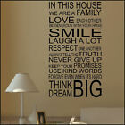 LARGE HOUSE RULES WALL STICKER QUOTE IN THIS FAMILY LOVE SMILE NEW UK  TRANSFER