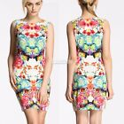 Lady Floral Printed Clubwear Party Cocktail Bodycon Sleeveless Sexy Mini Dress