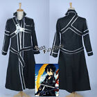 Kirito Kazuto Kirigay Fashion Black Coat Men Boy Anime Cosplay Costume Clothing