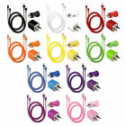 Usb Home Ac Wall + Car Charger + 8 Pin Data Sync Cable For Apple Iphone 5 5s 5c