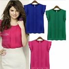 Women Casual Round Neck Solid Blouse Tops OL Chiffon Ruffle Short Sleeve Shirt