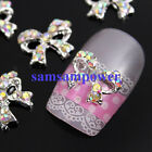 10-50pcs 3D Silver Plated Alloy Stone Bow Heart Logo Charm Nail Art Phone Decals
