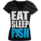 Eat Sleep Fish - Funny Fishing Fisherman Bass Trout Girls Junior V-Neck T-Shirt