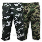 Mens Combat Cargo Shorts Camouflage Military Army 3 4 Lightweight Casual Summer