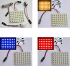 White/Blue/Red Car Interior Light Panel 48 SMD 3528 LED + T10 BA9S Adapter 12V