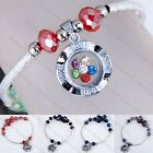 Fashion Crystal Glass Dangle Spin Bead Lucky Charms Bracelet Bangle Women Gift
