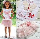 2Pcs Baby Girls Shirts Skirts T-shirts Sets Kids Butterfly Party Age 2-6Y Outfit