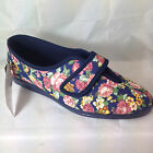 LADIES WIDE VELCRO SLIPPER SHOES FLORAL COTTON WASHABLE SLIPPERS