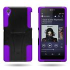 For Sony Xperia Z2 - Shock Proof Dual Layer Kickstand Hybrid Phone Cover Case