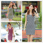 Womens Girls Beach Chess Bodycon Mini Dress Party Cocktail T-shirt Summer