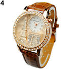 Women Lady Eiffel Tower Dial Faux Leather Band Quartz Wrist Watch Luxury