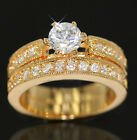 24K GOLD GF R227 2CT SOLITARIE DIAMONDS CHANNEL WEDDING BAND SOLID RING SET GIFT