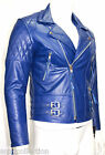 Desprado Men's Electric Blue Biker Style Motorcycle Real Leather Jacket