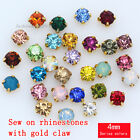 100pcs 4mm sew on round faceted crystal rhinestones beads gold plated pk color