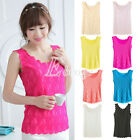 Women Candy Color Flower Lace Sleeveless T-Shirts Vest Top Blouse Tank Top New