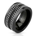 Stainless Steel Mens Black Layered Cuban Chain Link Spinner Ring Size 9-14(3295)
