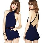 New Womens High Street Backless Sexy Rompers Short Jumpsuit Plus Size Jumpsuits