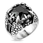 Stainless Steel Mens Faceted Stone Fleur De Lis Dragon Claw Ring Size 9-14(4549)
