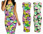 Ladies Summer Stretch Bodycon Midi Maxi Tropical Floral Sleeveless Dress 8-14