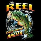The Reel Deal  Fresh Water Angler Fishing Royal Blue  T-Shirt Sizes SM To 5XL