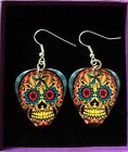 Guitar Pick Plectrum Earrings Sugar Skull Rockabilly Leopard Print Tattoo Style
