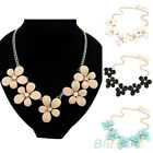 WOMEN ELEGANT FLOWER CHARM GOLD CHAIN PENDANT NOBLE CHUNKY BIB CHOKER NECKLACE
