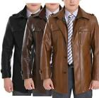NEW Men's Casual Thick Coat Slim Fit Leather Jacket Overcoat Trench Coat Outwear