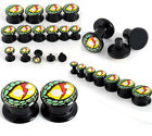 Pair(2) 4-14mm Black Acrylic Snake Evil Eye Ear Tunnels Screw Plugs Expander