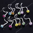 10pc Czech Crystal Gem Twist Nose Ring Nostril Screws Studs Punk Twist Bar