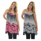 Womens Tops Floral Print Ladies Asymmetric Hanky Hem Tunic Plus Size Nouvelle