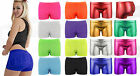 Ladies Womens Hot Pants Stretch Shorts Neon Mini Dance Colours Gym Cycle Sexy